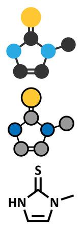 representations: Methimazole hyperthyroidism drug molecule. Conventional skeletal formula and stylized representations.