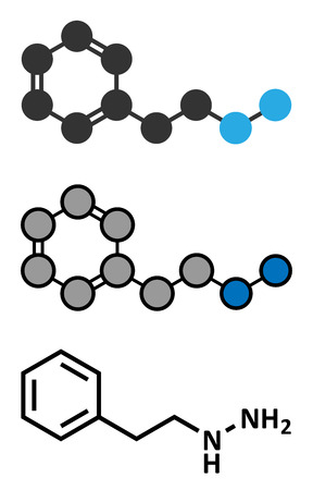 oxidase: Phenelzine antidepressant molecule. Belongs to hydrazine class of antidepressants. Conventional skeletal formula and stylized representations. Illustration