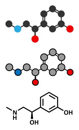 agonist: Phenylephrine nasal decongestant drug molecule. Conventional skeletal formula and stylized representations. Illustration