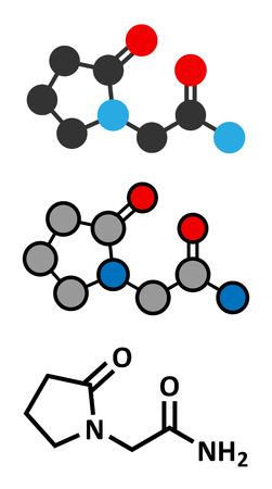 Piracetam nootropic drug molecule. Conventional skeletal formula and stylized representations.
