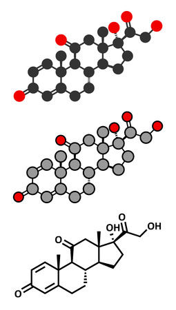 representations: Prednisone corticosteroid drug molecule. Conventional skeletal formula and stylized representations. Illustration