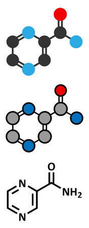Pyrazinamide tuberculosis drug molecule. Conventional skeletal formula and stylized representations.