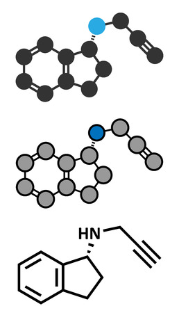 melanin: Rasagiline Parkinsons disease drug molecule. Conventional skeletal formula and stylized representations.