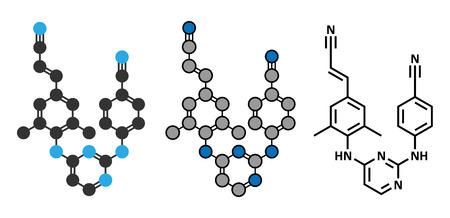 conventional: Rilpivirine HIV drug molecule. Conventional skeletal formula and stylized representations. Illustration