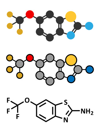 Riluzole amyotrophic lateral sclerosis (ALS) drug molecule. Conventional skeletal formula and stylized representations.