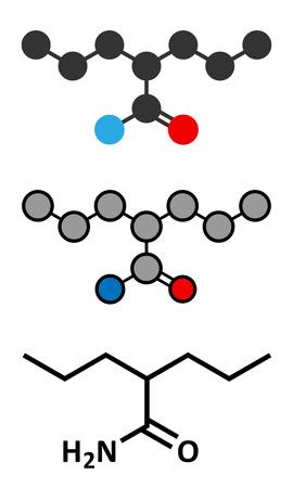seizures: Valpromide seizures drug molecule (antiepileptic agent). Conventional skeletal formula and stylized representations. Illustration