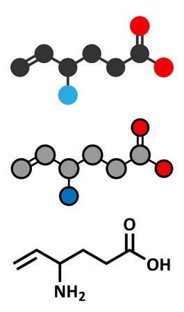 seizures: Vigabatrin epilepsy (seizures) drug molecule. Suicide inhibitor of the enzyme GABA transaminase. Conventional skeletal formula and stylized representations.