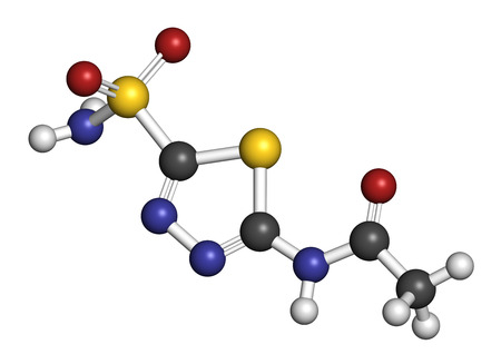 diuretic: Acetazolamide diuretic drug molecule (carbonic anhydrase inhibitor). Atoms are represented as spheres with conventional color coding: hydrogen (white), carbon (grey), oxygen (red), nitrogen (blue), sulfur (yellow).