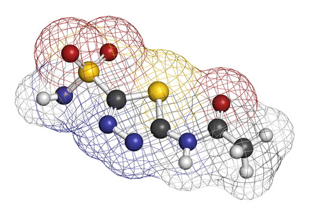 carbonic: Acetazolamide diuretic drug molecule (carbonic anhydrase inhibitor). Atoms are represented as spheres with conventional color coding: hydrogen (white), carbon (grey), oxygen (red), nitrogen (blue), sulfur (yellow).