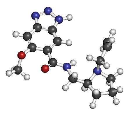 generic medicine: Alizapride antiemetic drug molecule. Used in treatment of nausea and vomiting. Atoms are represented as spheres with conventional color coding: hydrogen (white), carbon (grey), oxygen (red), nitrogen (blue). Stock Photo