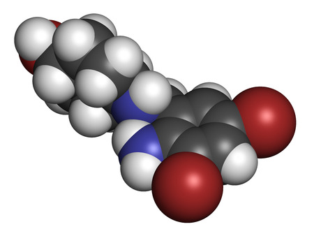 pharyngitis: Ambroxol secretolytic drug molecule. Also often used in treatment of soar throat. Atoms are represented as spheres with conventional color coding: hydrogen (white), carbon (grey), oxygen (red), nitrogen (blue), bromine (brown).