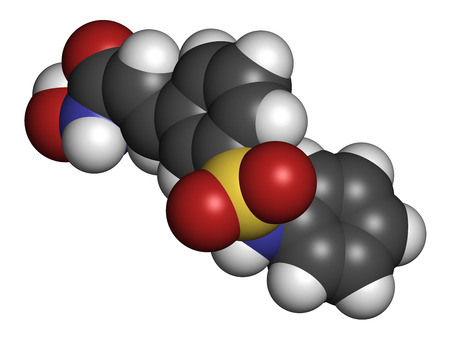 inhibitor: Belinostat cancer drug molecule. Histone deacetylase (HDAC) inhibitor. Atoms are represented as spheres with conventional color coding: hydrogen (white), carbon (grey), oxygen (red), nitrogen (blue), sulfur (yellow).