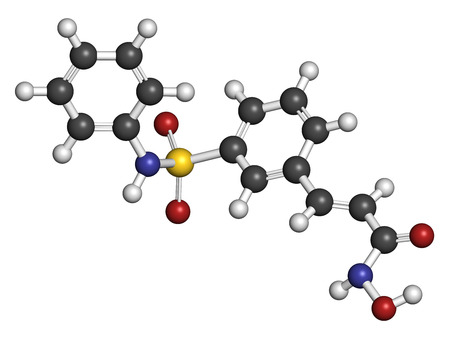 generic medicine: Belinostat cancer drug molecule. Histone deacetylase (HDAC) inhibitor. Atoms are represented as spheres with conventional color coding: hydrogen (white), carbon (grey), oxygen (red), nitrogen (blue), sulfur (yellow).