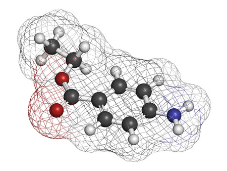 ejaculation: Benzocaine local anesthetic drug molecule. Atoms are represented as spheres with conventional color coding: hydrogen (white), carbon (grey), oxygen (red), nitrogen (blue).