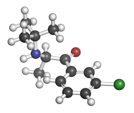 antidepressant: Bupropion antidepressant and smoking cessation drug molecule. Atoms are represented as spheres with conventional color coding: hydrogen (white), carbon (grey), oxygen (red), nitrogen (blue), chlorine (green).