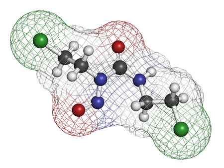 myeloma: Carmustine (BCNU) cancer chemotherapy drug molecule. Atoms are represented as spheres with conventional color coding: hydrogen (white), carbon (grey), oxygen (red), nitrogen (blue), chlorine (green).