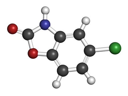 muscle relaxant: Chlorzoxazone muscle relaxant drug molecule. Atoms are represented as spheres with conventional color coding: hydrogen (white), carbon (grey), oxygen (red), nitrogen (blue), chlorine (green).