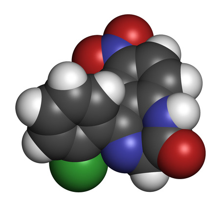 benzodiazepine: Clonazepam benzodiazepine drug molecule. Used in treatment of seizures, insomnia, anxiety, etc. Atoms are represented as spheres with conventional color coding: hydrogen (white), carbon (grey), oxygen (red), nitrogen (blue), chlorine (green).