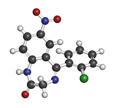 muscle relaxant: Clonazepam benzodiazepine drug molecule. Used in treatment of seizures, insomnia, anxiety, etc. Atoms are represented as spheres with conventional color coding: hydrogen (white), carbon (grey), oxygen (red), nitrogen (blue), chlorine (green).
