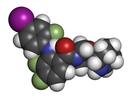 iodine: Cobimetinib melanoma drug molecule. Atoms are represented as spheres with conventional color coding: hydrogen (white), carbon (grey), oxygen (red), nitrogen (blue), iodine (purple), fluorine (light green). Stock Photo