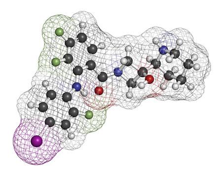 fluorine: Cobimetinib melanoma drug molecule. Atoms are represented as spheres with conventional color coding: hydrogen (white), carbon (grey), oxygen (red), nitrogen (blue), iodine (purple), fluorine (light green). Stock Photo