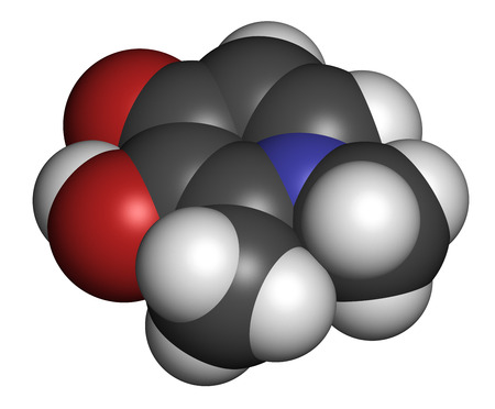 thalassemia: Deferiprone thalassaemia major drug molecule. Iron chelating agent. Atoms are represented as spheres with conventional color coding: hydrogen (white), carbon (grey), oxygen (red), nitrogen (blue). Stock Photo