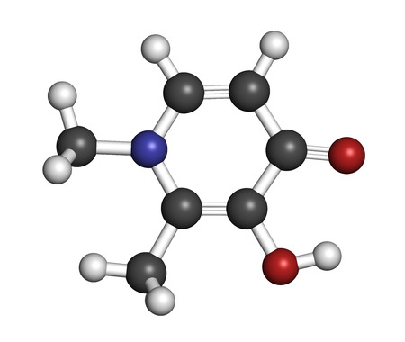 chelation: Deferiprone thalassaemia major drug molecule. Iron chelating agent. Atoms are represented as spheres with conventional color coding: hydrogen (white), carbon (grey), oxygen (red), nitrogen (blue). Stock Photo