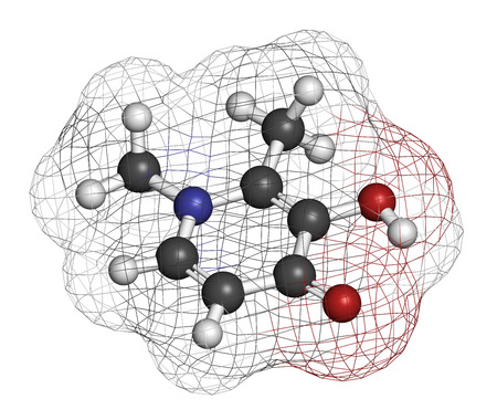 Deferiprone thalassaemia major drug molecule. Iron chelating agent. Atoms are represented as spheres with conventional color coding: hydrogen (white), carbon (grey), oxygen (red), nitrogen (blue). Stock Photo