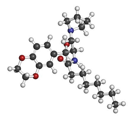 generic medicine: Eliglustat Gauchers disease drug molecule. Atoms are represented as spheres with conventional color coding: hydrogen (white), carbon (grey), oxygen (red), nitrogen (blue). Stock Photo