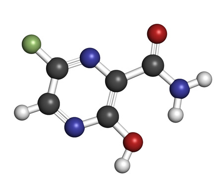 antiviral: Faviparivir antiviral drug molecule. Used in treatment of Ebola virus. Atoms are represented as spheres with conventional color coding: hydrogen (white), carbon (grey), oxygen (red), nitrogen (blue), fluorine (light green).