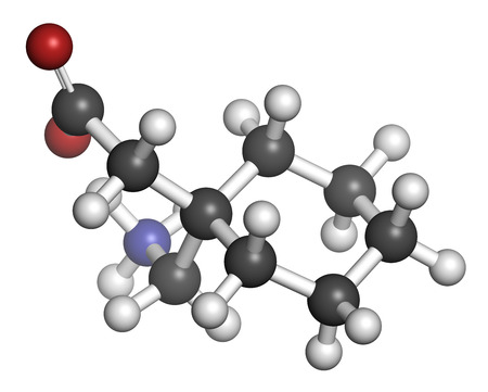 seizures: Gapapentin drug molecule. Used in treatment of seizures and neuropathic pain. Atoms are represented as spheres with conventional color coding: hydrogen (white), carbon (grey), oxygen (red), nitrogen (blue).