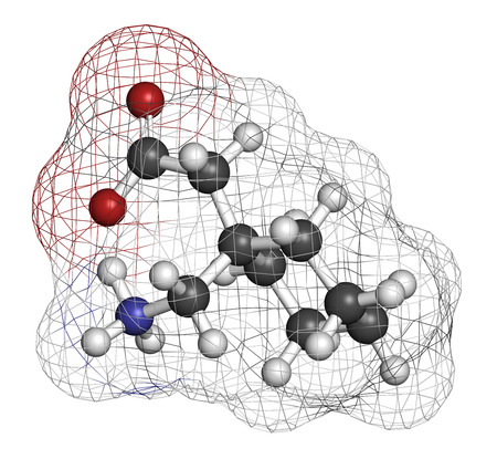 neuropathic: Gapapentin drug molecule. Used in treatment of seizures and neuropathic pain. Atoms are represented as spheres with conventional color coding: hydrogen (white), carbon (grey), oxygen (red), nitrogen (blue).