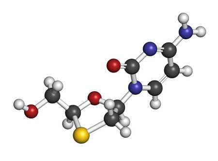 nucleoside: Lamivudine (3TC) antiviral drug molecule. Used in treatment of HIV. Atoms are represented as spheres with conventional color coding: hydrogen (white), carbon (grey), oxygen (red), nitrogen (blue), sulfur (yellow).