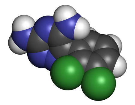 seizures: Lamotrigine seizures drug molecule. Used in treatment of epilepsy and bipolar disorder. Atoms are represented as spheres with conventional color coding: hydrogen (white), carbon (grey), nitrogen (blue), chlorine (green). Stock Photo