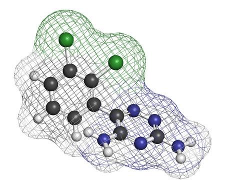 convulsión: Lamotrigina convulsiones mol�cula de f�rmaco. Se utiliza en el tratamiento de la epilepsia y el trastorno bipolar. Los �tomos se representan como esferas con codificaci�n de colores convencionales: hidr�geno (blanco), carb�n (gris), nitr�geno (azul), cloro (verde).