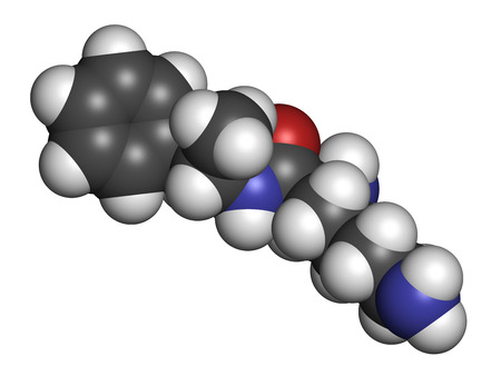 enhancing: Lisdexamfetamine mesylate ADHD treatment drug molecule. Atoms are represented as spheres with conventional color coding: hydrogen (white), carbon (grey), oxygen (red), nitrogen (blue). Stock Photo