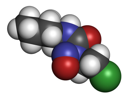 Lomustine brain cancer chemotherapy drug molecule. Atoms are represented as spheres with conventional color coding: hydrogen (white), carbon (grey), oxygen (red), nitrogen (blue), chlorine (green). Stock Photo