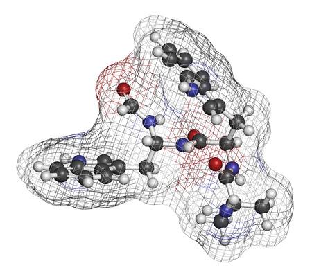 hipofisis: Macimorelin adulto hormona del crecimiento mol�cula de f�rmaco de diagn�stico. Los �tomos se representan como esferas con codificaci�n de colores convencionales: hidr�geno (blanco), carb�n (gris), ox�geno (rojo), nitr�geno (azul).