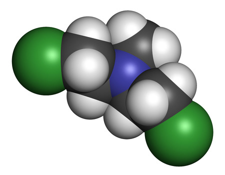 Chlormethine (mechlorethamine, mustine, HN2) cancer chemotherapy drug molecule. Nitrogen mustard compound also used a blister agent (chemical weapon). Atoms are represented as spheres with conventional color coding: hydrogen (white), carbon (grey), chlori