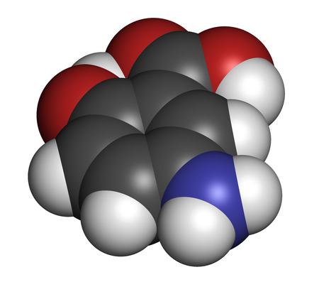 bowel disease: La mesalazina (mesalamina, �cido 5-aminosalic�lico) mol�cula inflamatoria drogas enfermedad intestinal. Los �tomos se representan como esferas con codificaci�n de colores convencionales: hidr�geno (blanco), carb�n (gris), ox�geno (rojo), nitr�geno (azul). Foto de archivo