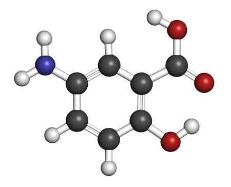 inflammatory bowel disease: Mesalazine (mesalamine, 5-aminosalicylic acid) inflammatory bowel disease drug molecule. Atoms are represented as spheres with conventional color coding: hydrogen (white), carbon (grey), oxygen (red), nitrogen (blue).