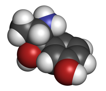 hypotension: Metaraminol (metaradrine) hypotension drug molecule. Used in treatment of low blood pressure, e.g. due to anesthesia. Atoms are represented as spheres with conventional color coding: hydrogen (white), carbon (grey), oxygen (red), nitrogen (blue).