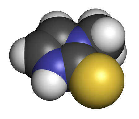 generic medicine: Methimazole hyperthyroidism drug molecule. Atoms are represented as spheres with conventional color coding: hydrogen (white), carbon (grey), nitrogen (blue), sulfur (yellow). Stock Photo