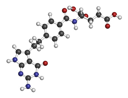 generic medicine: Pemetrexed lung cancer drug molecule. Atoms are represented as spheres with conventional color coding: hydrogen (white), carbon (grey), oxygen (red), nitrogen (blue). Stock Photo
