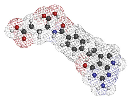 mesothelioma: Pemetrexed lung cancer drug molecule. Atoms are represented as spheres with conventional color coding: hydrogen (white), carbon (grey), oxygen (red), nitrogen (blue). Stock Photo