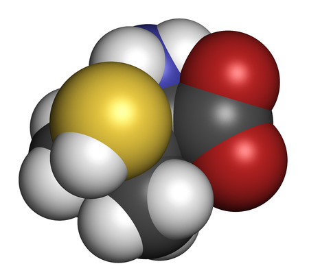 chelation: Penicillamine drug molecule. Used as chelating agent and in treatment of rheumatoid arthritis. Atoms are represented as spheres with conventional color coding: hydrogen (white), carbon (grey), oxygen (red), nitrogen (blue), sulfur (yellow).