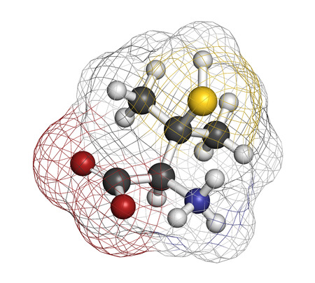Penicillamine drug molecule. Used as chelating agent and in treatment of rheumatoid arthritis. Atoms are represented as spheres with conventional color coding: hydrogen (white), carbon (grey), oxygen (red), nitrogen (blue), sulfur (yellow).