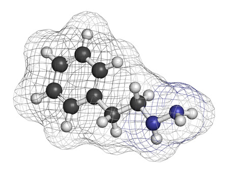 oxidase: Phenelzine antidepressant molecule. Belongs to hydrazine class of antidepressants. Atoms are represented as spheres with conventional color coding: hydrogen (white), carbon (grey), nitrogen (blue).