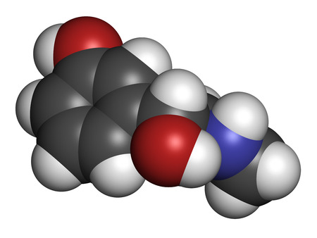 agonist: Phenylephrine nasal decongestant drug molecule. Atoms are represented as spheres with conventional color coding: hydrogen (white), carbon (grey), oxygen (red), nitrogen (blue).