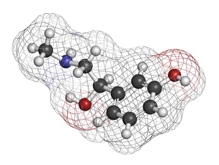 hemorrhoid: Phenylephrine nasal decongestant drug molecule. Atoms are represented as spheres with conventional color coding: hydrogen (white), carbon (grey), oxygen (red), nitrogen (blue).